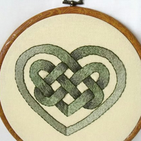 green celtic heart knot work embroidered hoop art wall hanging