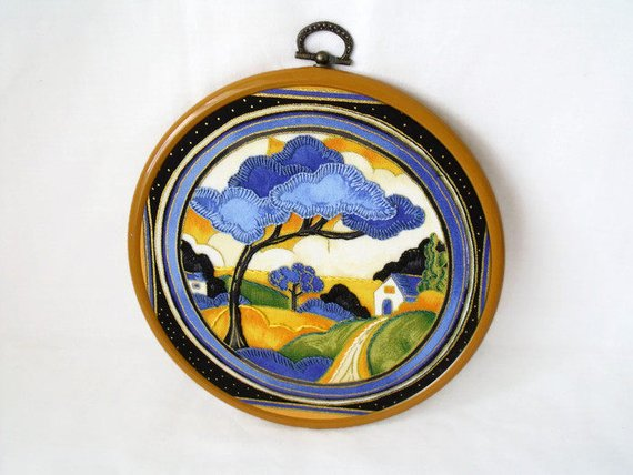 clarice cliffe art deco embroidered hoop art wall hanging, deco dance pattern