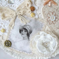 cottage chic vintage style mixed media hoop art wall hanging
