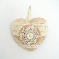 vintage style lace heart cottage chic wall decoration