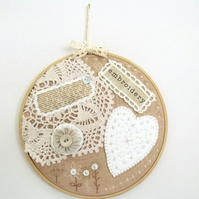beige cottage chic vintage style mixed media hoop art wall hanging