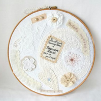large white cottage chic vintage style mixed media hoop art wall hanging