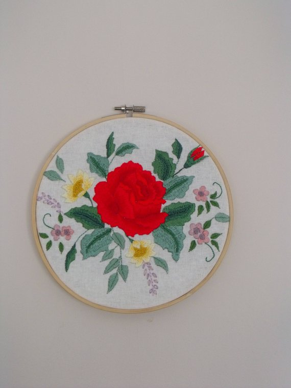 red rose bouquet embroidered hoop art wall hanging