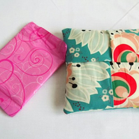 green floral cotton sanitary towel holder, discrete towel pouch for your bag