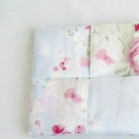 pale blue floral cotton sanitary towel holder, discrete towel pouch for your bag