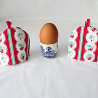 pair of red quilted strawberry egg cup cozies, easter gift