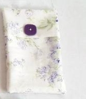 white and lilac floral  cotton tampon holder, discrete tampax pouch for your bag