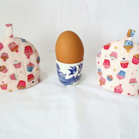 pair of pink cup cakes print quilted egg cup cozies, easter gift