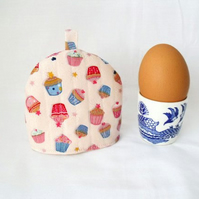 one pink cup cakes print quilted egg cup cozies, easter gift