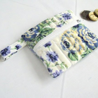 cotton quilted zipped coin purse with D ring attached, lilac floral fabric