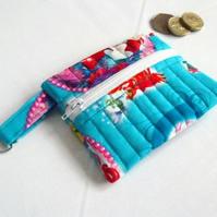 little mermaids zipped coin purse with D ring attached