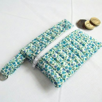 turquoise ditsy print zipped coin purse with D ring attached