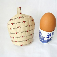 beige heart print quilted egg cup cozies, easter gift