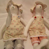 Tilda twin bunny rabbit dolls for display, lovely baby shower gift for twins