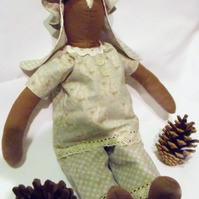 Tilda style brown bunny rabbit doll for display, lovely easter gift