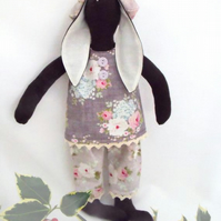 Tilda style brown bunny rabbit doll for display, light grey clothing