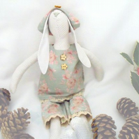 Tilda style polka dot bunny rabbit doll for display, green rose outfit