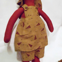 Tilda style rust red primitive bunny rabbit doll for display