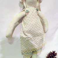 Tilda style cream bunny rabbit doll for display, green star outfit