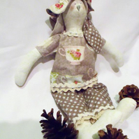 Tilda style cream bunny rabbit doll for display, tea cup fabric outfit