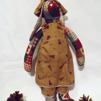Tilda style faux patchwork bunny rabbit doll for display