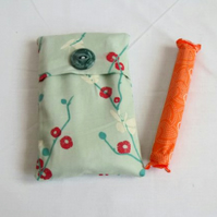 green cotton tampon holder, discrete tampax pouch for your bag