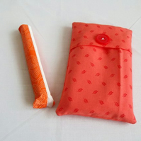 coral cotton tampon holder, discrete tampax pouch for your bag