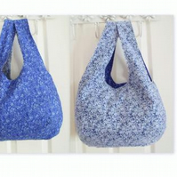floral cotton reversible lightweight boho shoulder bag, blue