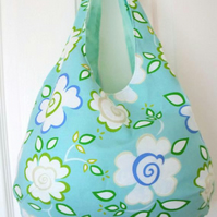 floral cotton lightweight boho shoulder bag, mint green