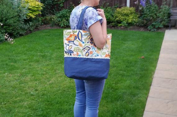 bright floral cotton and denim shoulder bag, denim blue, multicoloured
