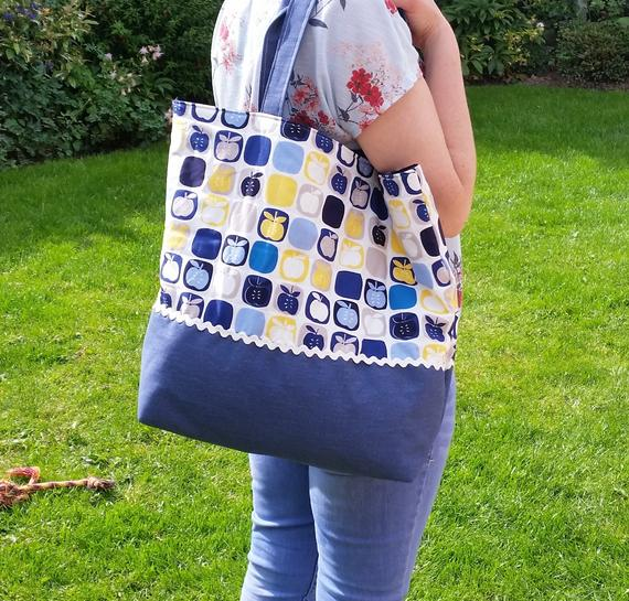 yellow cotton and denim shoulder bag, denim blue, apple fabric