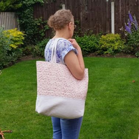 ivory corduroy and floral shoulder bag, pink floral fabric