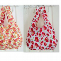 floral cotton reversible lightweight boho shoulder bag, orange, red