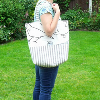grey cotton and striped shoulder bag, grey and black bird fabric
