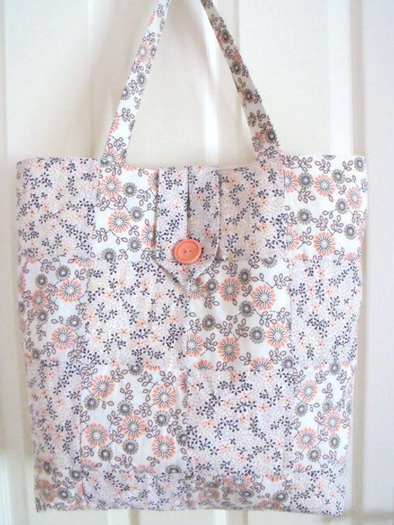 upcycled floral cotton quilted shoulder bag, peach and brown