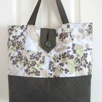 upcycled floral cotton quilted shoulder bag, green floral fabric