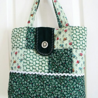 green patchwork floral quilted shoulder bag