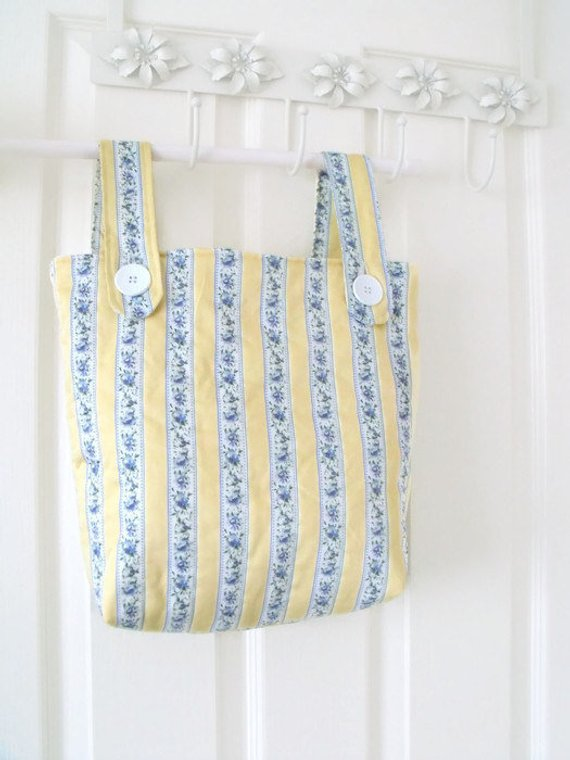 ladies zimmer frame mobility bag, yellow and blue fabric