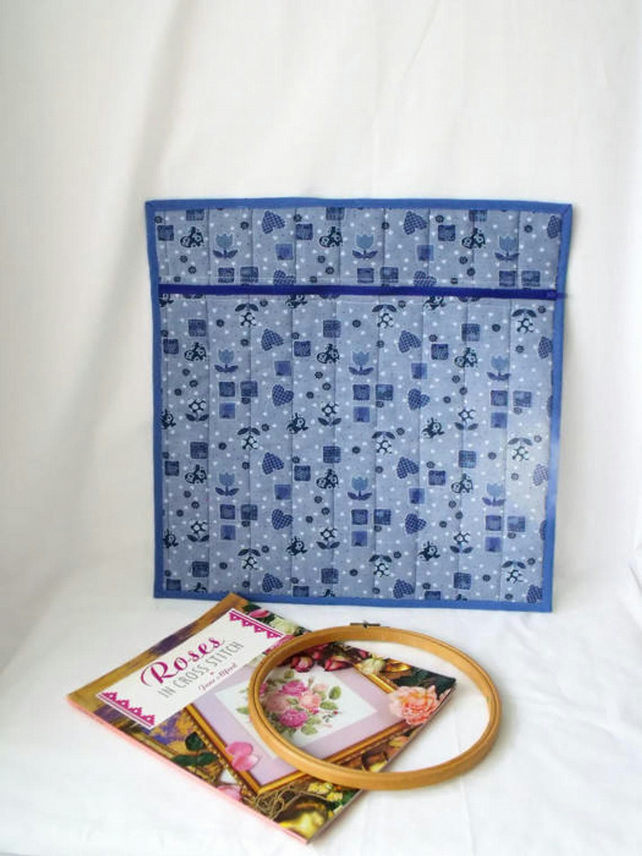 large quilted project pouch for embroidery or small craft projects, blue