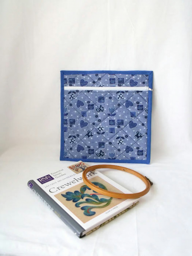 small quilted project pouch for embroidery or small craft projects, blue