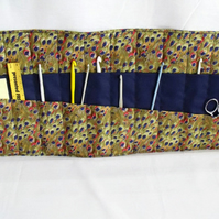 quilted crochet hook storage roll, animal print fabric