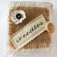 hessian and linen sewing needle case book, cream and red