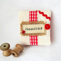 hessian and linen sewing needle case book,  red