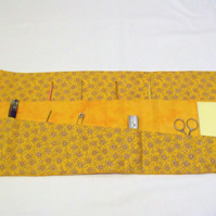 quilted crochet hook storage tool roll, gold