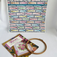 large quilted project pouch for embroidery or small craft projects, zip print