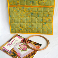 large quilted project pouch for embroidery or small craft projects, gold zip