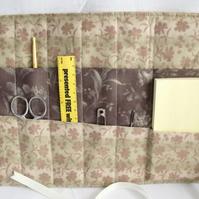 quilted crochet hook storage tool roll, brown floral fabric