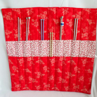 knitting needle roll or tunisian crochet hook holder, red and white