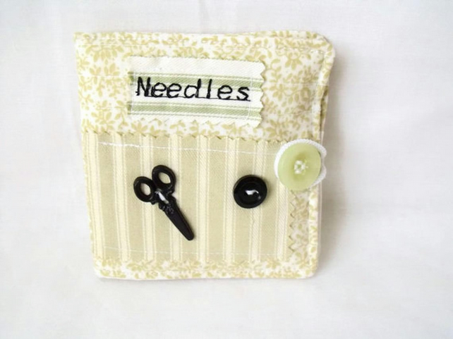 sewing needle keep safe book, pale green