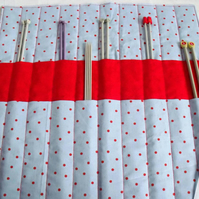knitting needle roll or tunisian crochet hook holder, blue polka dot fabric